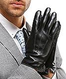 HARRMS Herren Leder Winter Handschuhe Touch Screen für Smartphone Geschenkverpackung Warm Gefüttert mit Fütterung Männer Fäustlinge Lederhandschuhe Für Fahren Motorrad Radfahren,Schwarz,M