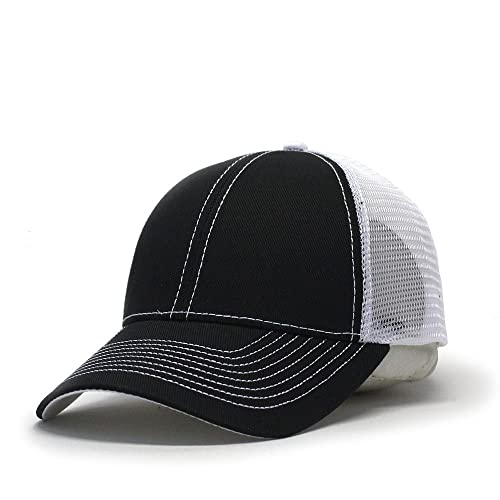 9f4e3bb6a0a Vintage Year Plain Two Tone Cotton Twill Mesh Adjustable Trucker Baseball  Cap