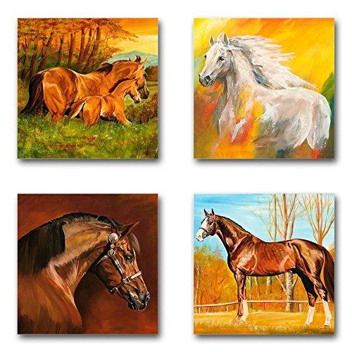 Mia Morro Pferde Set A, 4-teiliges Bilder-Set jedes Teil 29x29cm, Seidenmatte Optik auf Forex, Moderne schwebende Optik, UV-stabil, wasserfest, Kunstdruck für Büro, Wohnzimmer, XXL Deko Bild