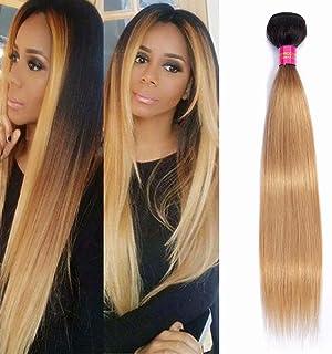 FEEL ME Straight Ombre Human Hair Bundles 1b/27 Honey Blonde Ombre Brazilian Hair Weave Bundles Unprocessed Straight Virgin Hair Extensions 100gram(10 Inch)