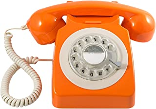 GPO 746 Rotary 1970s-style Retro Landline Phone - Curly Cord, Authentic Bell Ring - Orange