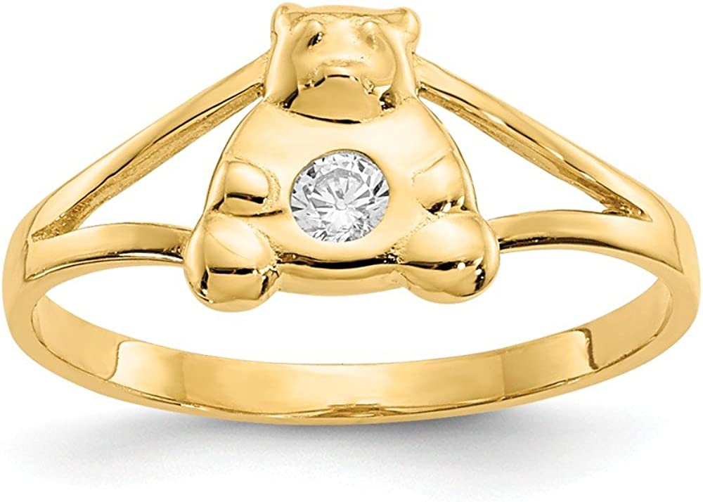 Cheap sale 14k Yellow Gold Cubic Zirconia Cz Bear Ring All items free shipping Teddy Baby Size Band