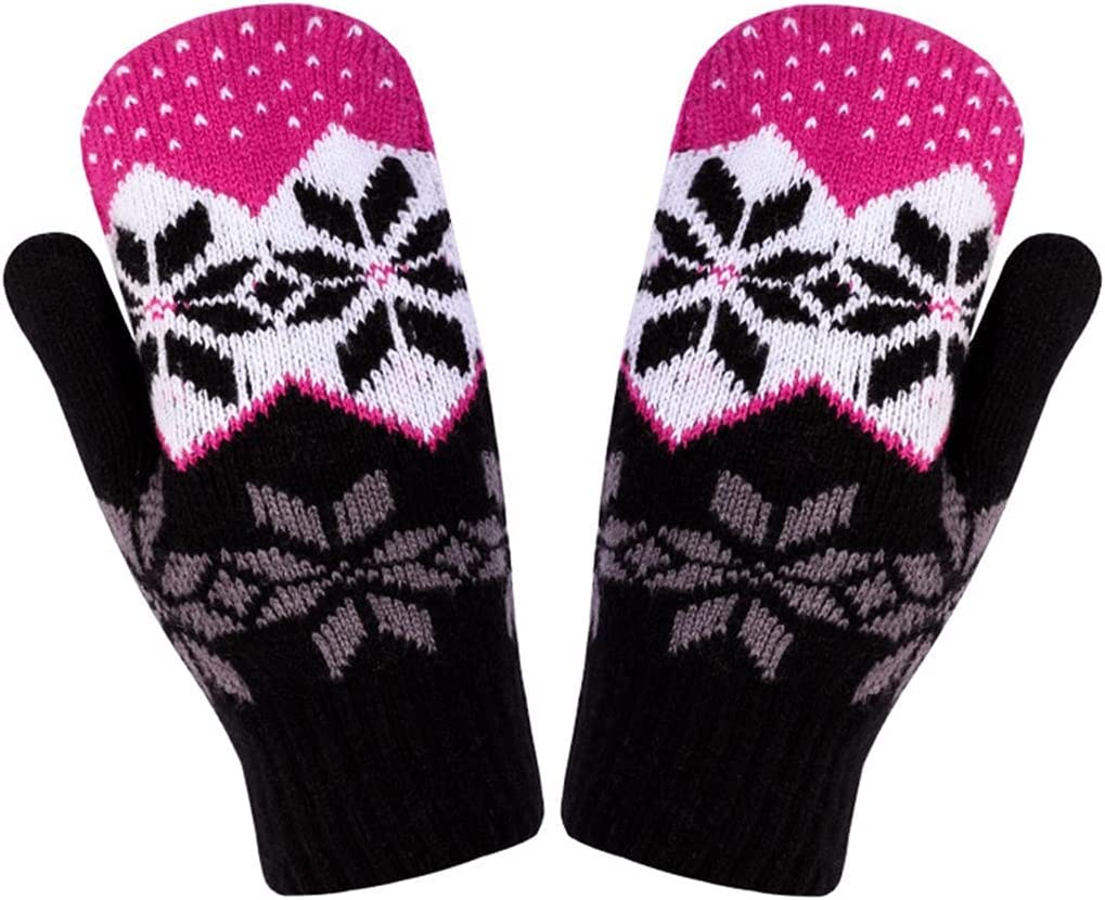 Lnrueg Women Knit Mittens Snowflake Knitted Breathable Fashion Winter Mittens Warm Gloves for Outdoor Printed Indoor