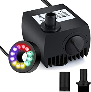 Maxesla Submersible Water Pump 80 GPH (300L/H) Mini Electric Fountain Water Pump with 12 LED Light and 2 Nozzles, Quiet Water Pump for Pond/Aquarium/Fish Tank/Statuary with 4.92ft (1.5M) Power Cord