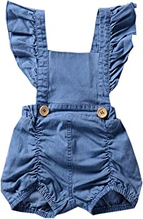 Colorful Childhood Baby Girls Rompers Infant One Piece Ruffles Sleeve Ripped Demin Bodysuit Toddler Outfits Jean Jumpsuit