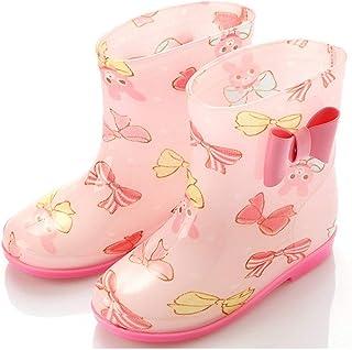 Fashion Cute Bow Children Shoes PVC Rubber Kids Baby Cartoon Shoes Children's Water Shoes Waterproof Non-slip Rain Boots