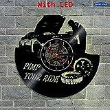 xcvbxcvb Repare el Reloj de Pared de Vinilo del Coche Creativo decoración de la Pared del Garaje Art Pimp Your Car Theme Reloj de Pared con iluminación LED