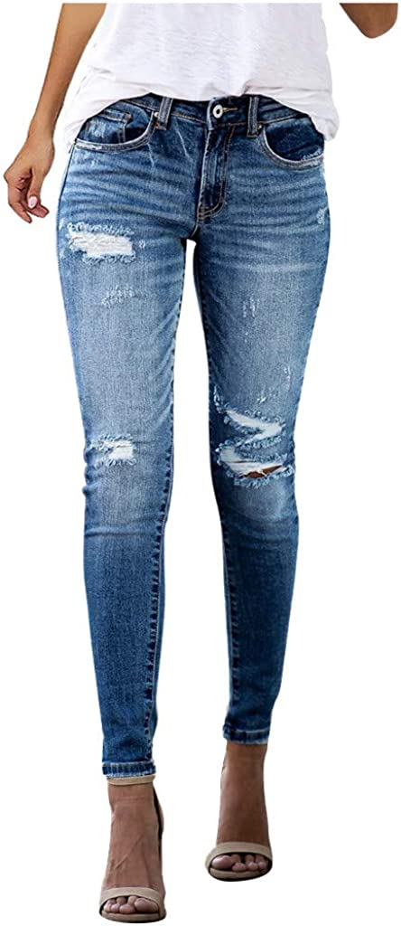 Kinsaiy High Waisted Denim Jeans for Womens,Hole Denim Jeans Leggings Skinny Pants with Pockets Straight Jeans Trousers