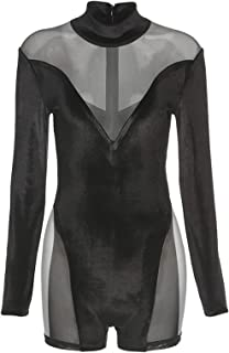 FEESHOW Women Activewear One Piece Jumpsuit Long Sleeve See-Through Bodysuit Gymnastics Yoga Fitness Outfit Black S