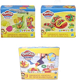 Play Doh Kitchen Creations Foodie Favorites Assortment Bundle: Juice Squeezin' Toy Juicer Play Set + Taco Time Play Set + ...