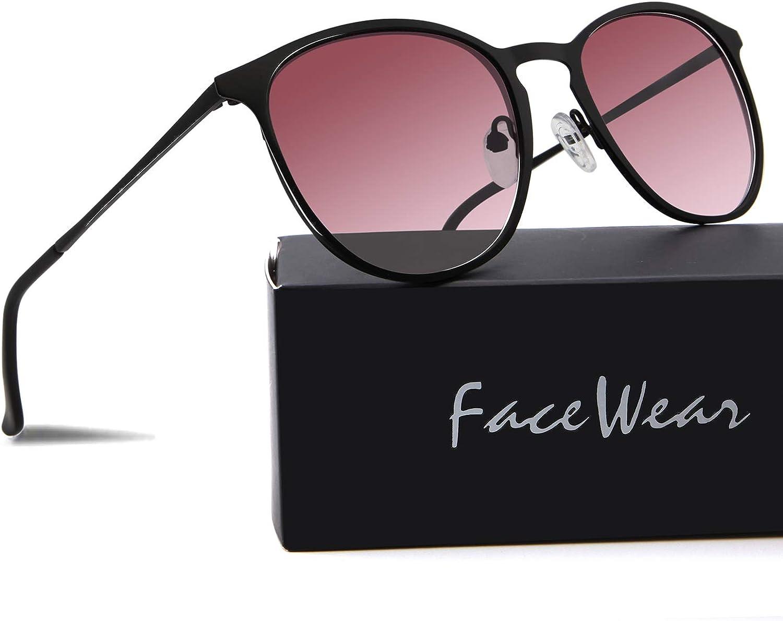Facewear Classic Round Retro Sunglasses UV400 Circle Lens Metal Frame Men Women FW1006