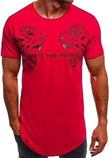 VPASS Hombre Camisetas, Camiseta para Hombre,Verano Manga Corta Impresión de Letras Originales Moda Camiseta Casual T-Shirt Blusas Camisas Camiseta Originales Cuello Redondo Hombre Suave básica Camiseta Top vpass