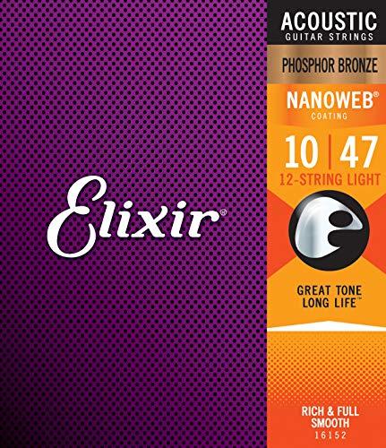 Elixir Strings Phosphor Bronze 12-String Acoustic Guitar Strings w NANOWEB Coating, Light (.010-.047)