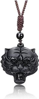 Top Plaza Men Tiger Amulet Talisman Protection Pendant Necklace Natural Tiger Eye Stone Healing Crystal Carved Gemstone Ne...