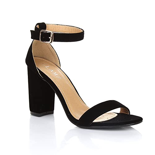 cf4671cf5bc3 GLAMZ Womens Ladies Block HIGH Heel Ankle Strap PEEP Toe Strappy Sandals  Shoes Size 3 4