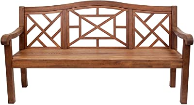 Achla Designs OFB-19N Carlton Bench Eucalyptus Garden Bench, Natural, 6 foot