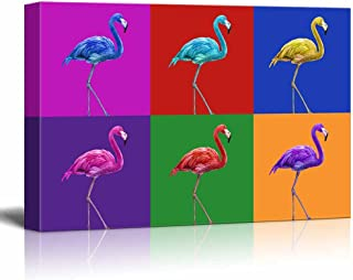 wall26 - Canvas Wall Art - Multi-Color Pop Art with Flamingo - Giclee Print Gallery Wrap Modern Home Decor Ready to Hang - 24