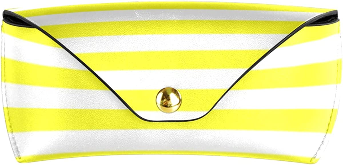 Line Striped Office Portable PU Leather Sunglasses Case Eyeglasses Pouch Multiuse Goggles Bag