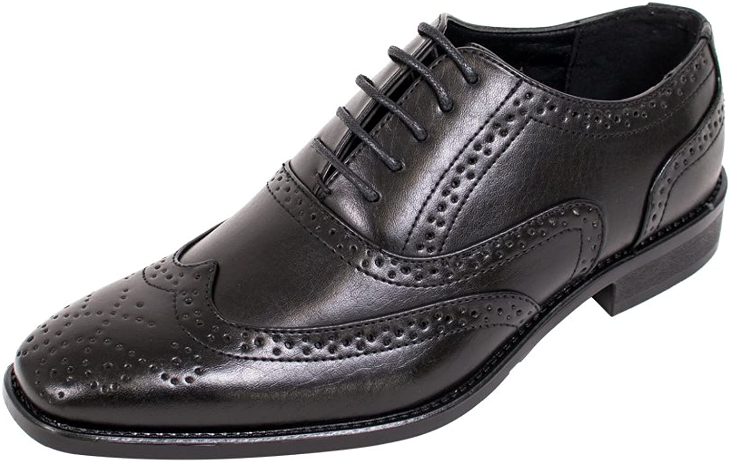 Beverly st Mens Dress shoes Lace Up Brogue Medallion Wing Tip Oxford