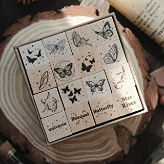 Doraking 12PCS Vintage Decorative Wooden Rubber DIY Butterflies Scrapbook Stamps Seals Set for Diary Planner Scrapbook Dec...