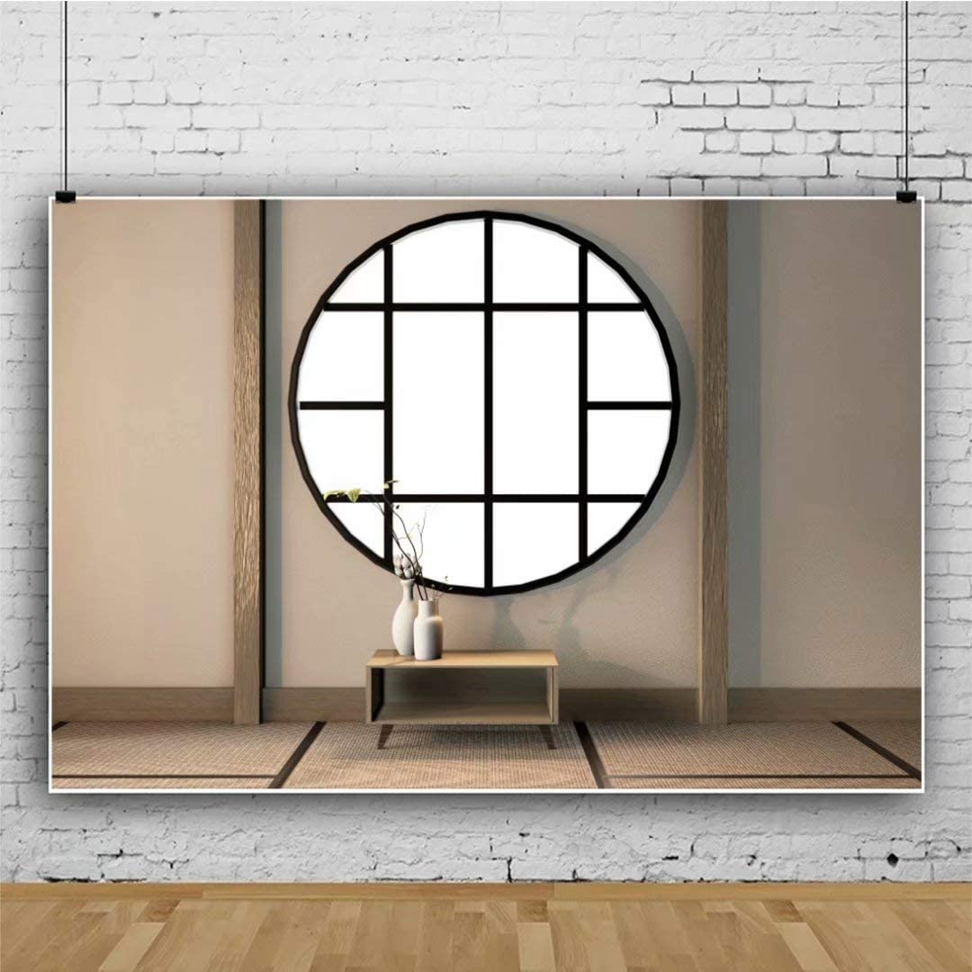DaShan 14x10ft Japanese Style Backdrop Lobby Interior Photography Background Potted Flower Japan Traditional Residence Backdrops Indoor Decoration Wallpaper Art Protrait Photo Studio Props