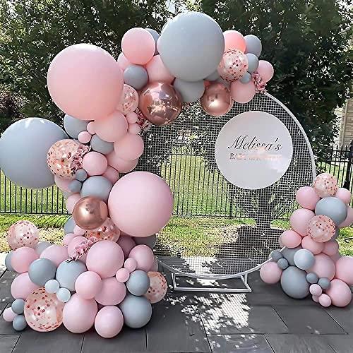 Unisun Arco de Globos Rosa Gris Látex Guirnalda Globo Confeti Oro Rosa para Niño Niña Mujer Adultos Bautizo Cumpleaños Boda Baby Shower Comunion Fiestas Infantiles Decoración