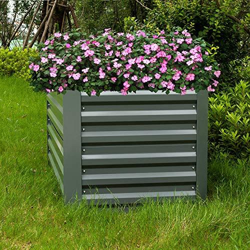 HENGMEI Hochbeet verzinkt Stahl Kräuterbeet Gartenbeet Rechteckig 120x60x60 cm für Balkon und Garten, Grau