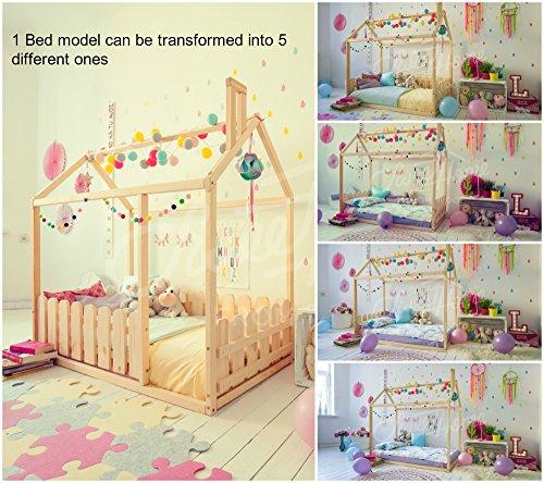 Cama de la casa Montessori, colchón no está directamente en el piso. Con valla. (160x80cm)
