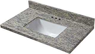 CAHABA CAVT0210 25 in x 19 in Santa Cecilia Granite Vanity Top with trough bowl and 4 in faucet spread