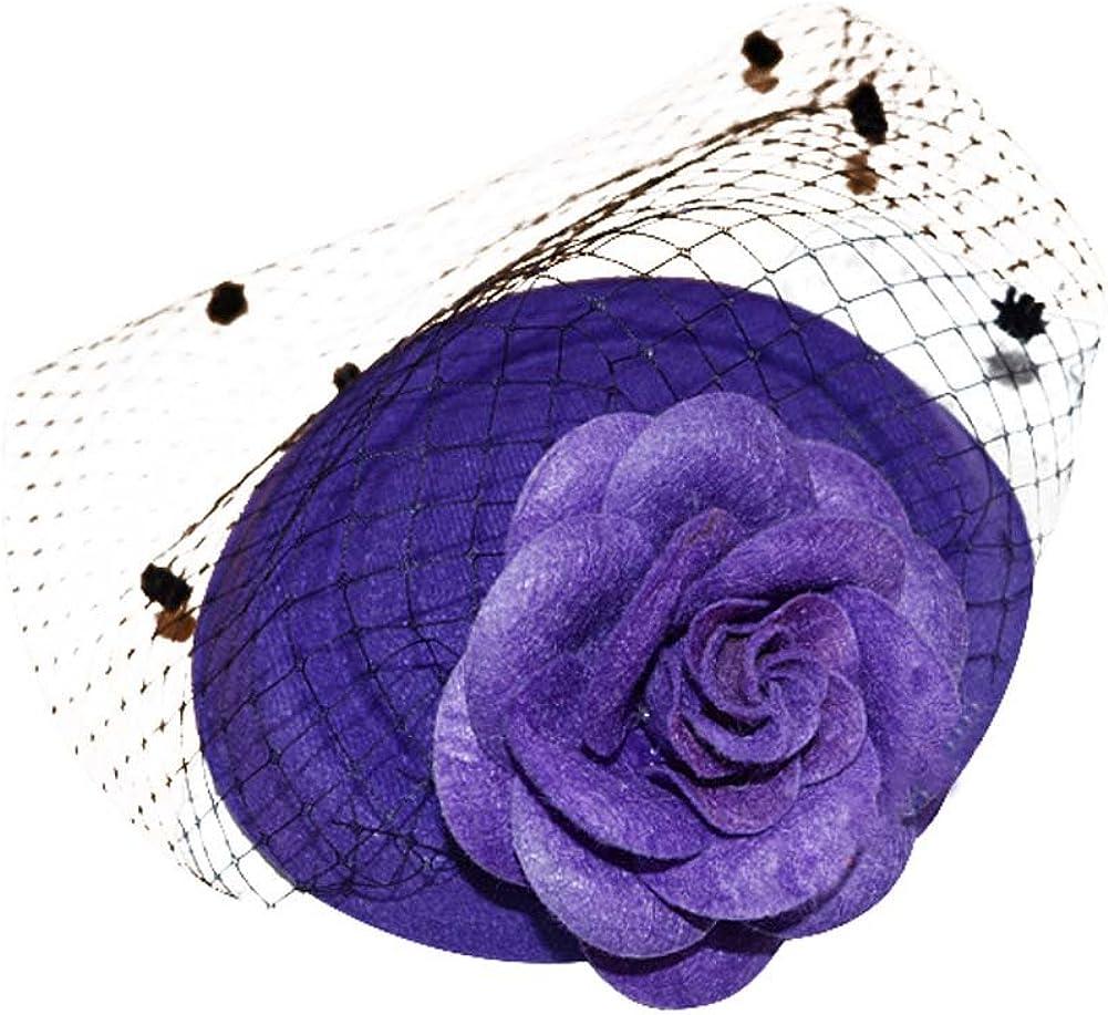 BAOBAO Fancy Women Girls Lace Feather Cheap Top Flower Hat Bargain F Rose Mini
