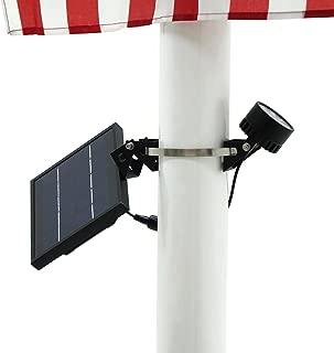 Mini 120X Solar Powered Flag Pole Light (Warm White LED), Black Finish, Adjustable Metal Strap, 4-Way Solar Panel Rotation for Optimum Sunlight Exposure