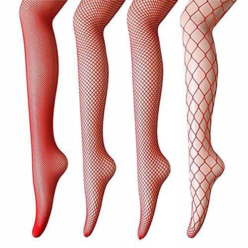 ANDIBEIQI 4 Pares Medias de Rejilla de Red Calcetines de Rejilla para Mujer Fishnet Tights Talla única