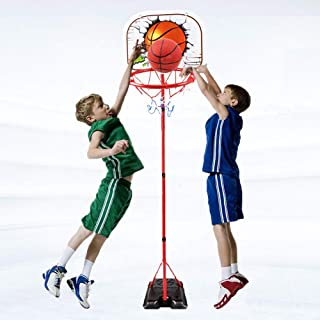 Adjustable Stand Basketball Toys Set - Happytime Kids Stand Adjust Hoop Basketball Sets Toy with Ball Pump Indoor and Outdoor Fun Toys for 2+ Years Old