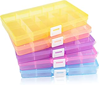 """SGHUO Plastic Jewelry Organizer Box, 5 Pack 15-Grid Plastic Storage Boxes with Removable Dividers for Art and Crafts, 5 Colors, 6.8"""" x 3.8"""" x 0.9"""""""