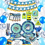 HIPEEWO Shark Birthday Decorations - Shark Party Supplies Decorations for Boys Kids, Banner, Tablecloth, Balloons, Sign, Plates, Cups, Napkins, Cutlery Bag, Straws, Utensils, Serves 16 Guests 191 PCS