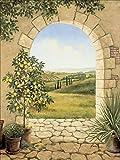 Artland Qualitätsbilder I Bild auf Leinwand Leinwandbilder Wandbilder 60 x 80 cm Landschaften Fensterblick Malerei Creme A7CU Zitronenbaum vorm Torbogen