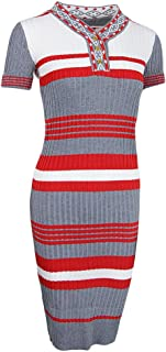 MagiDeal Women Short Sleeves Multi-color Stripes Bodycon Cocktail Party Sweater Dress
