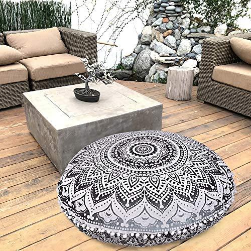 Marubhumi Black Gray Ombre Indian Hippie Mandala Floor Pillow Cover - Cushion Cover - Pouf Cover Round Bohemian Yoga Decor Floor Cushion Case- 32 Inch