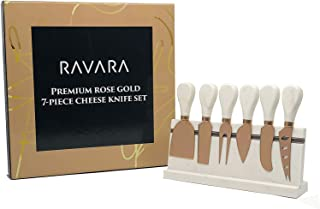 Ravara Cheese Knife Set, 7-Pieces (4 Knives, Spreader, Cheese Fork, and Marble Stand), Rose Gold Premium Quality Cheese Knife Set Utensils – Rose Gold Stainless Steel, 100% Natural Marble Handles