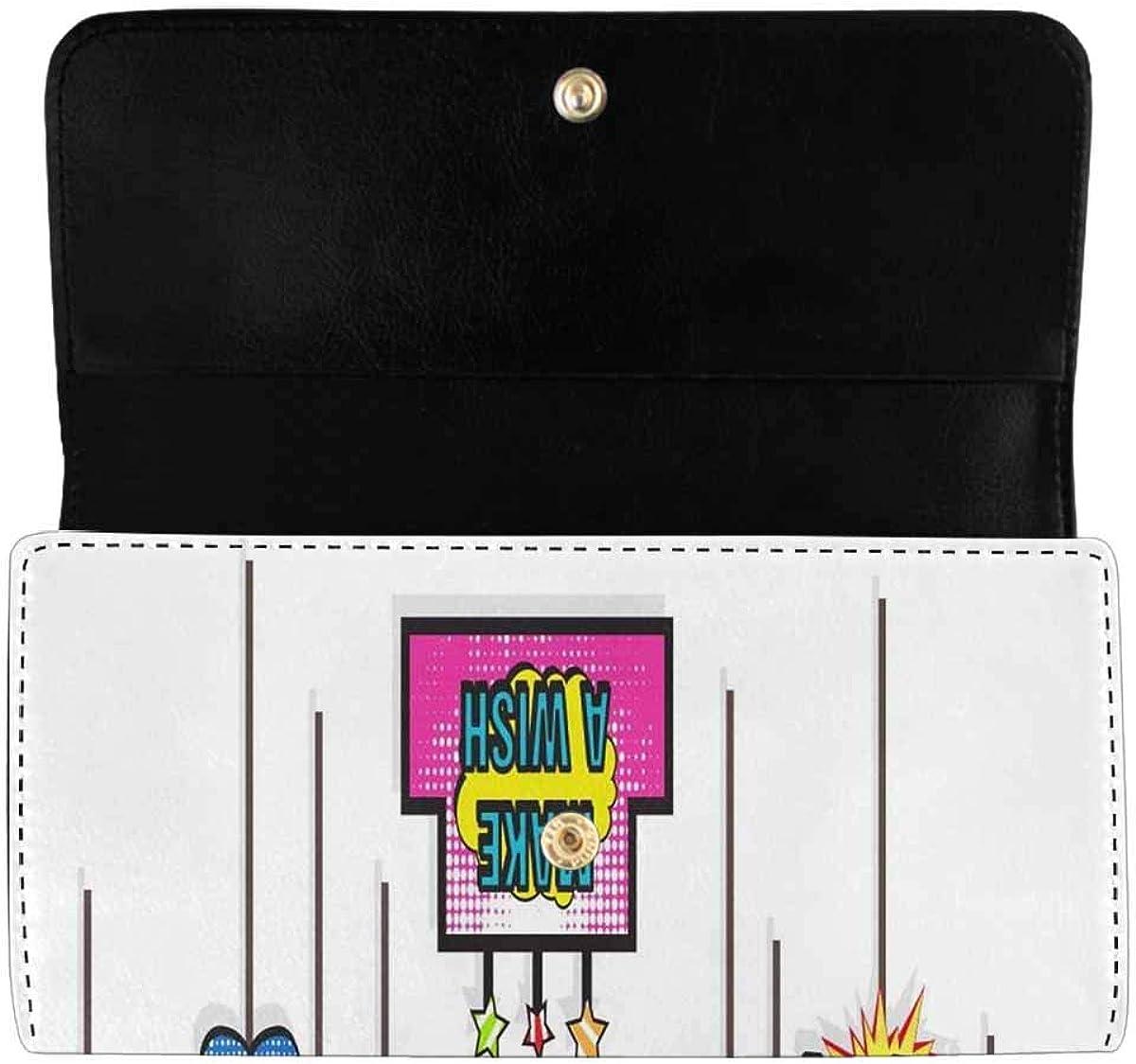 INTERESTPRINT Women's Trifold Long Clutch Purses Cute Bear Rocket Card Holder Wallet