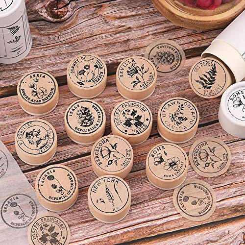 Wooden Rubber Stamp Set, NogaMoga Round Retro Rubber Seal with Flower & Plant Patterns, 12pcs Wooden Mounted Decorative Collecting Stamps for DIY, Scrapbooking Craft, Wedding Decor and Cards