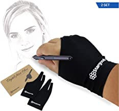 Digital Artist Glove for Graphic Drawing Tablet, Two Finger Sketch Gloves, Woman, Set of 2