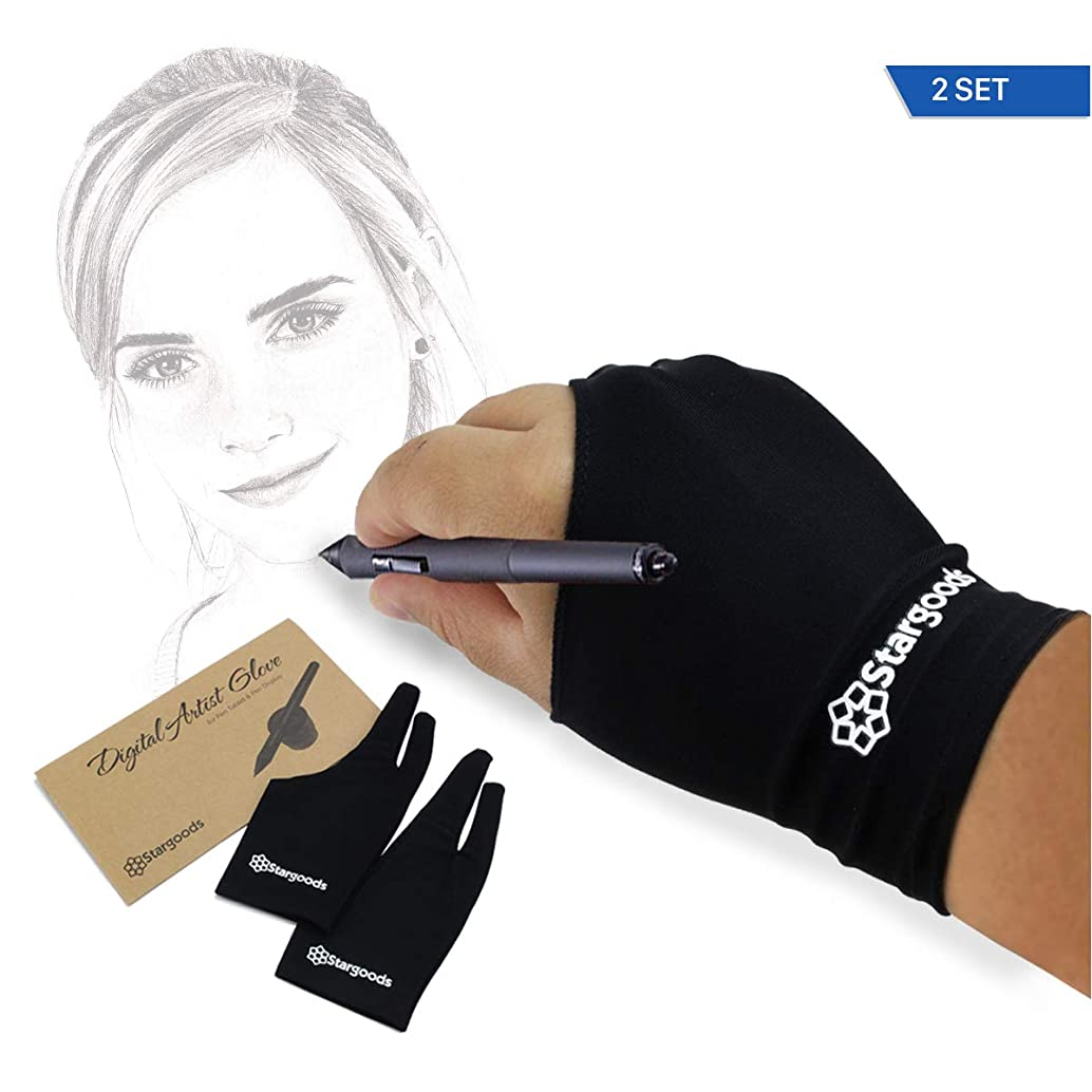 Digital Artist Glove for Graphic Drawing Tablet, Anti Fouling Two Finger Gloves, Man, Set of 2