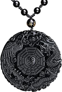 ASGIFT Unique Gifts for Men Women, Black Obsidian Charms Necklace, Healing Crystal Stone Pendant