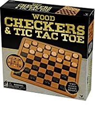 Solid Wood Reversible Game Board Wood Playing Pieces 2 Games on 1 Gameboard 5 Years + Up Hours of entertaining fun