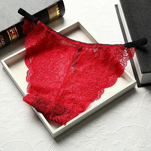 T-YIFUZX Pantaloni Monospalla a Vita Bassa in Seta Ghiaccio Senza Traccia Biancheria Intima da Donna Triangolo in Tessuto di Cotone Rosso M
