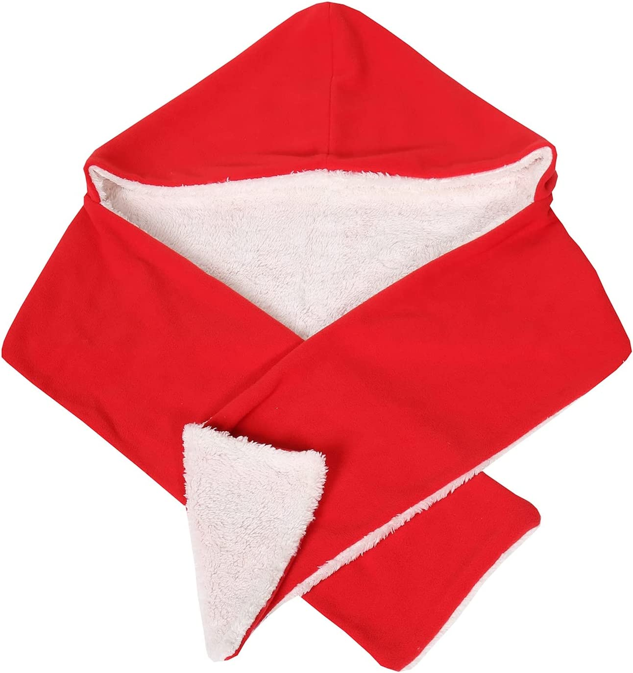 Soft Cozy Warm Fleece Reversible Hooded Wrap Scarf - Red