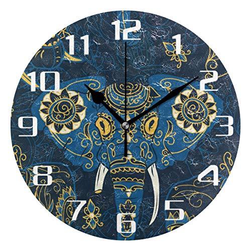 F17 Reloj de pared redondo con diseño de elefante étnico indio Anmial Mandala Flower 9.8 pulgadas PVC creativo decorativo reloj de escritorio para cocina, dormitorio, cuarto de baño sala de estar