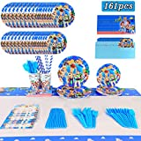 Toy Story 4 Birthday Party Supplies, 16 Serves Set Including Invitations Card, Napkins, Plates, Cups, Knives, Forks, Spoons, Straws, Tablecloth Cover, Flatware Kit For Toy Story Party Decoration Décor