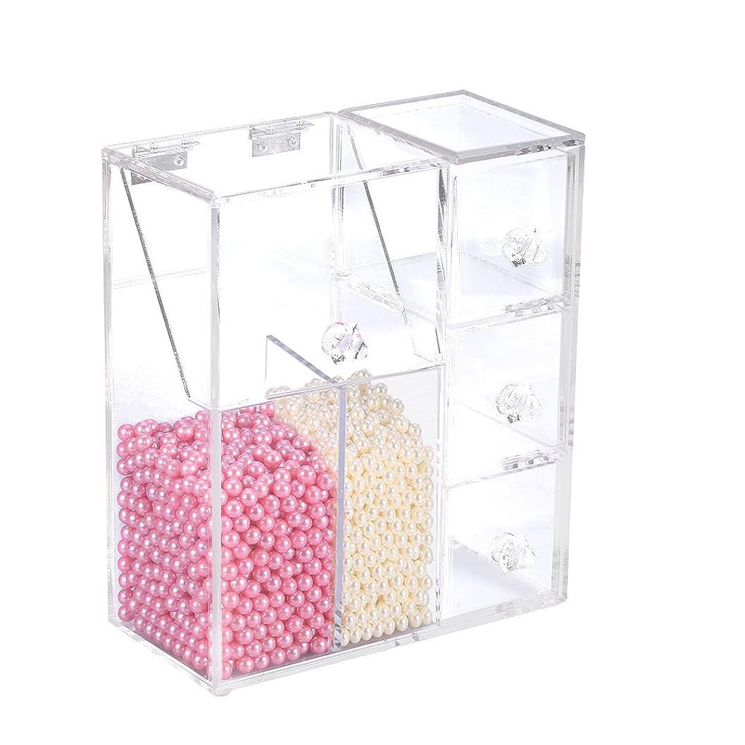 クランシー型合計透明な化粧品収納オーガナイザー、化粧品オーガナイザー化粧ブラシ収納容器ケース、2つのブラシホルダー付き